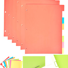 Amazon Basics 3 Ring Binder Dividers With 8 Tabs Pack Of 6 Sets Multicolor