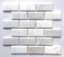 Carrara Carrera White Marble Beveled Brick 2x4 Subway Tile