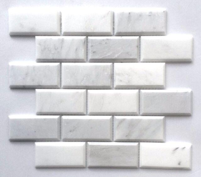 Carrara White 2x4 Beveled Marble Mosaic Tile Backsplash Wall Decor Bath Kitchen