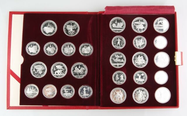 1980 USSR Olympic Silver Proof Set Leningrad Mint w/ Case Papers CoA (28 Coins)