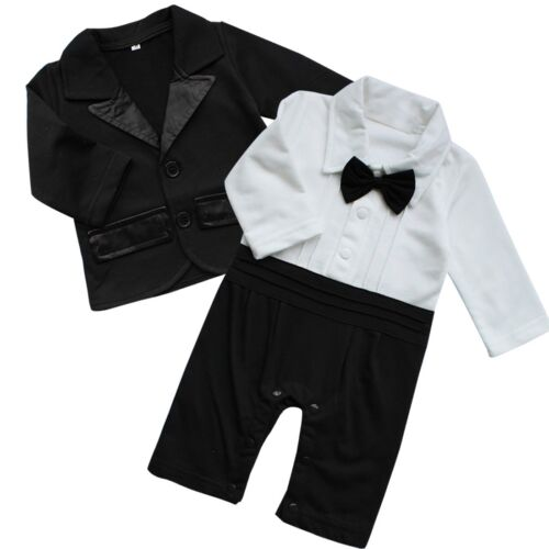 Infant Baby Boy Bowtie Romper Gentleman Clothes Wedding Birthday Jumpsuit Outfit