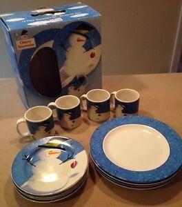 Image is loading NIB-Sakura-Oneida-Cherry-Snowman-Dinnerware-Set-12pc- & NIB Sakura Oneida Cherry Snowman Dinnerware Set 12pc Service for 4 ...