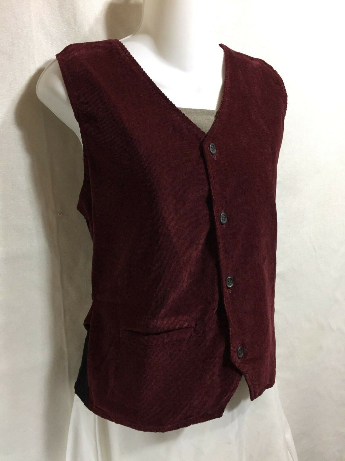 FLAX by Jeanne Engelhart Burgundy Red Cotton Corduroy Fitted Belt Button Vest M