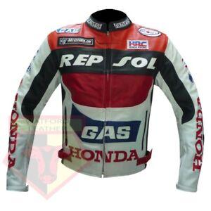 HONDA-GAS-REPSOL-RED-MOTORBIKE-MOTORCYCLE-BIKERS-COWHIDE-LEATHER-ARMOURED-JACKET