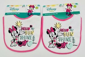Lot Of 2 Brand New Disney Minnie Mouse Baby Bibs: Hello Sun Shine