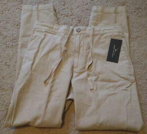 Marc-Anthony-Men-039-s-Linen-Elastic-Back-Luxury-Slim-260-Tan-Drawstring-32x32-Pants