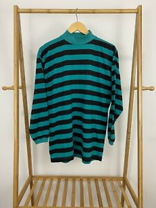 VTG-Betty-Blue-80s-Black-Teal-Striped-Mock-Neck-Long-Sleeve-T-Shirt-Size-M