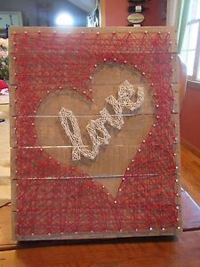 Primitives By Kathy Wooden Box Sign String Art Love 883504331616