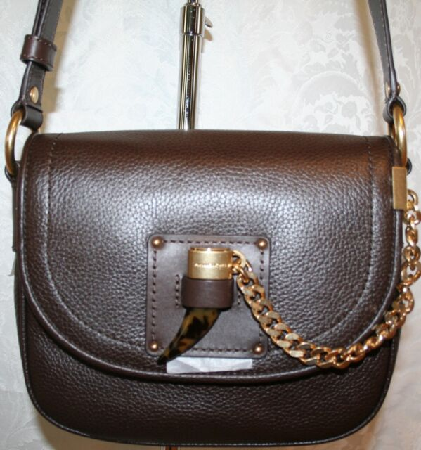 25019f2ce1d3 Michael Kors James Coffee Leather MD Saddle Crossbody Shoulder Bag ...