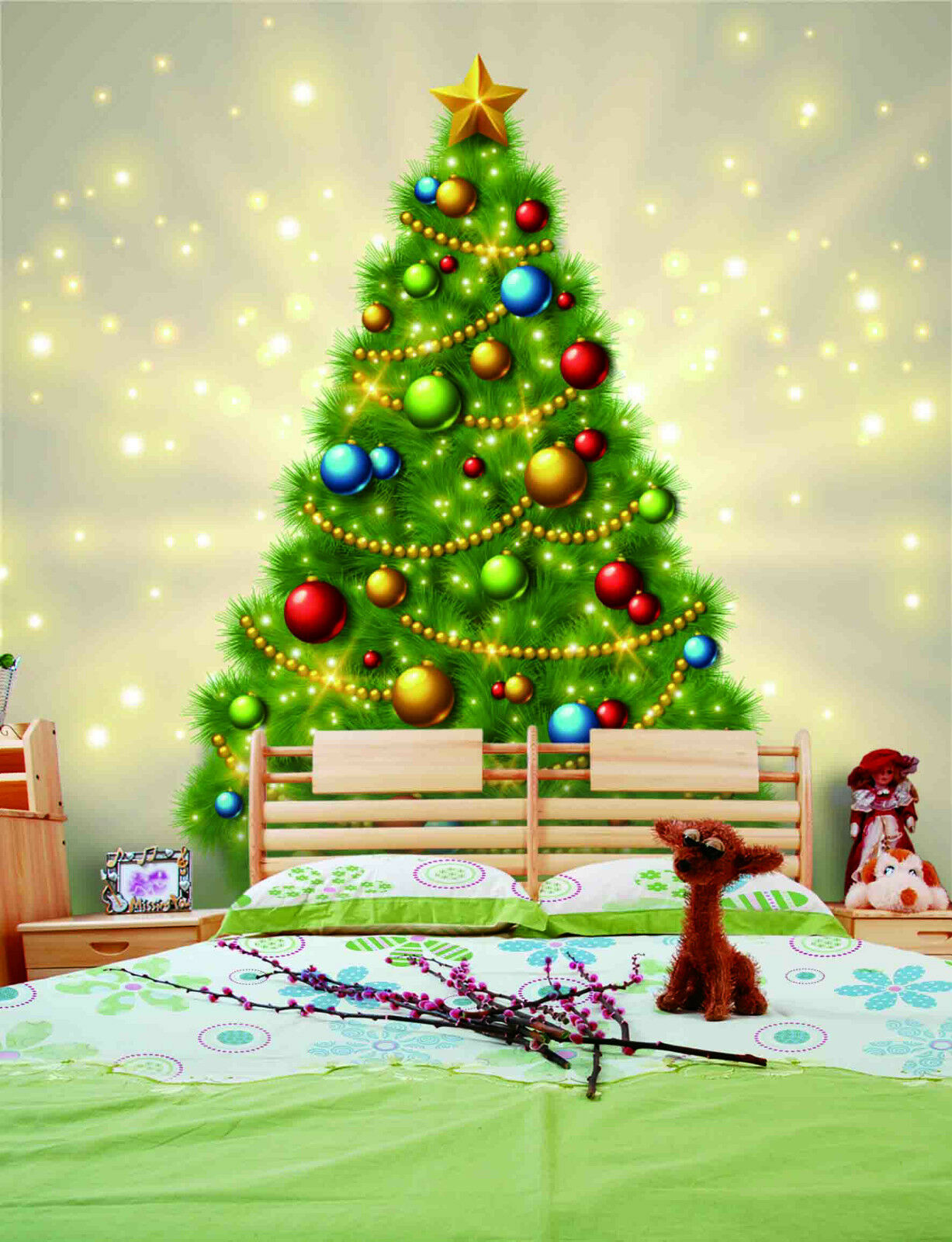 3D Farbeful Christmas Tree 33 Wall Paper Wall Print Decal Wall Deco Indoor Wall