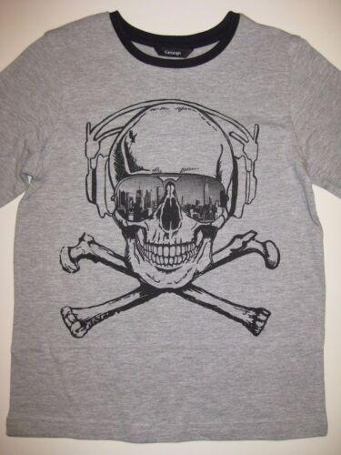 Kids Boys Grey Long Sleeved Gothic Skeleton Skull T-Shirt Top Ages 4-9 New