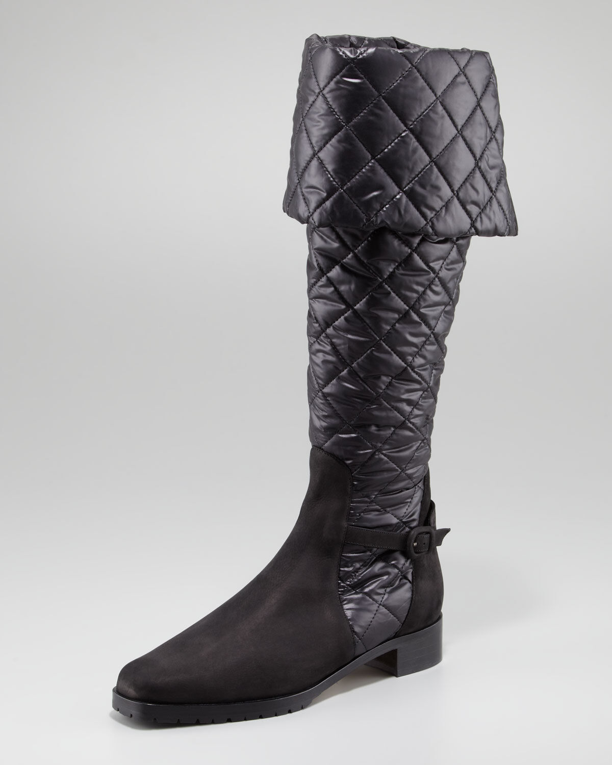 1445 Manolo Blahnik Women's Black Morrow Quilted Boot Size 38 1 2 UK 5.5 US 8.5
