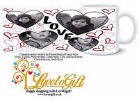 PERSONALISED MUG 4 PHOTO COLLAGE LOVE HEART CUSTOM DESIGN GIFT TEA COFFEE CUP