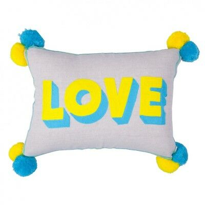 Linen Pom Pom HAPPY word Scatter Sofa Cushion Yellow Pink Coral Red Bombay Duck
