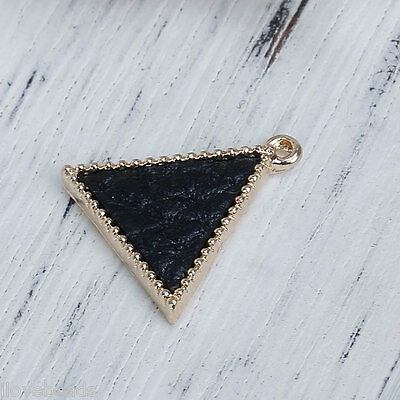 10PCs Black Triangle Shape Metal Pendants DIY Fashion Jewelry 17x16mm