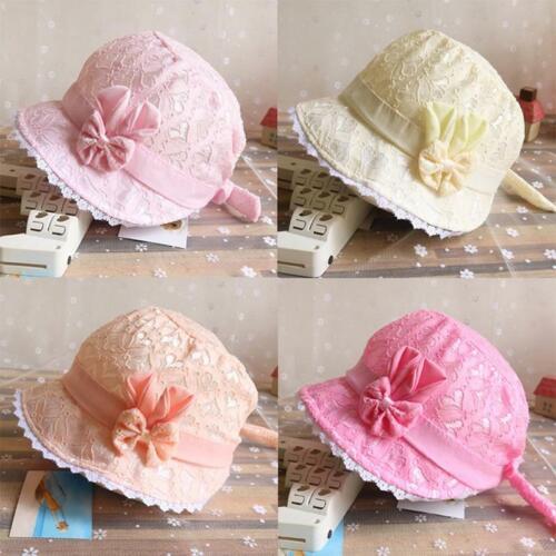 New Baby Girl Soft Sun Hat Kids Infant Princess Bonnet Lace Cotton Bucket Cap LC