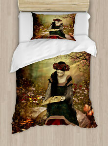 Medieval-Duvet-Cover-Set-Twin-Size-Land-and-Forest-Floral-with-1-Pillow-Sham