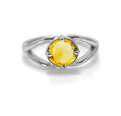 925 Sterling Silver Ring Natural Yellow Citrine Size  4 5 6 7 8 9 10 11