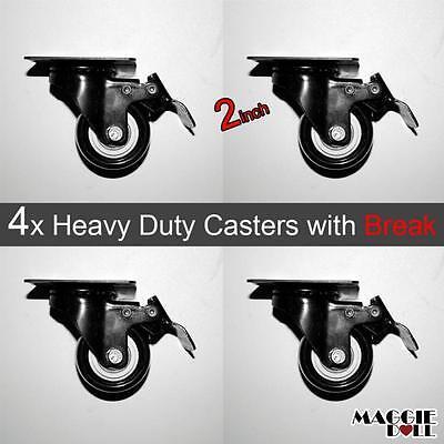 """4 x 2"""" PU Castors Swivel with Brake Castor Wheels,Trolley Caster heavy duty"""
