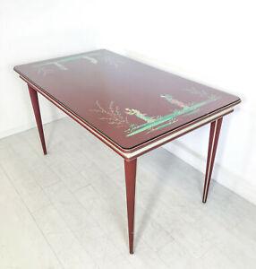 TAVOLO-DESIGN-UMBERTO-MASCAGNI-PRANZO-DIPINTO-CINA-VINTAGE-DINING-TABLE-EPOCA