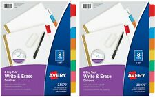 Avery 8 Tab Binder Dividers2 Set Write Amp Erase Multicolor Big Tabs 3 Hole Punch