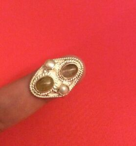 .925 Genuine Sterling SILVER  Ring Jewelry With Lab Pearl & Moonstone Size 8.25