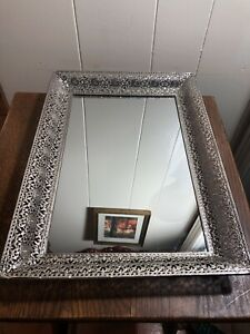 11-034-x-15-5-034-SILVER-Plated-Filigree-Ornate-Vanity-Wall-Mirror-Tray