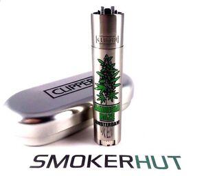 Metal-Clipper-Lighter-Rare-039-Amnesia-Haze-039-Amsterdam-Green-Bud-With-Gift-Tin