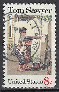 Estados unidos perfecto con sello 8c Tom Sawyer Roman Mark Twain libro redondo sello/6311