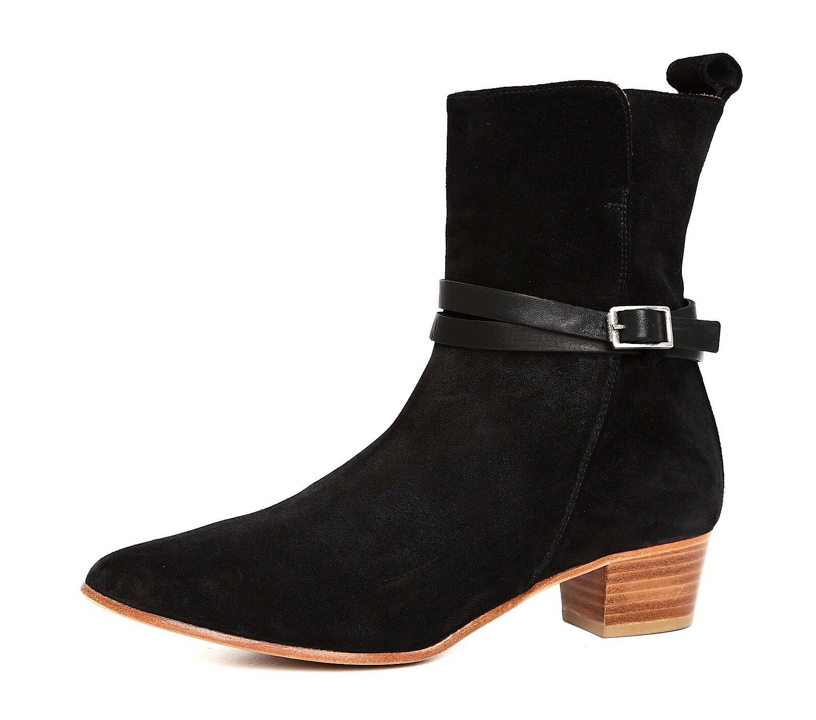 Alberto Fermani Side Zip Pointed Toe Suede Bootie Black Women Sz 38.5 EUR 5739