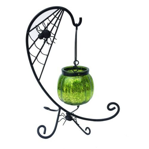"""Green Glass Cauldron Tealight Holder and Metal Spider Web Stand 9.5/"""" x 5/"""" New"""