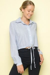 f4530d43 Image is loading Brandy-Melville-white-blue-striped-collared-button-up-