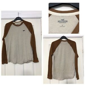 Hollister-Beige-Breown-Blouse-Long-Sleeve-T-Shirt-Mens-Size-Small-S-C138
