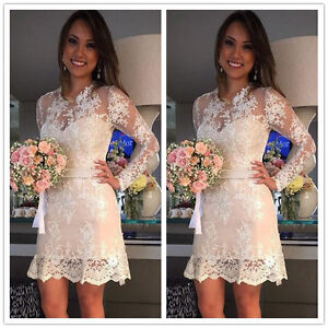 Details About Short Mini Lace Wedding Dresses Long Sleeves Beach Bridal Gowns 2 4 6 8 10 12