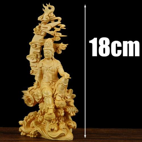 Chinese Boxwood Kwan-yin Guanyin Buddha Statue Sculpture Craft Wood Gift Decor