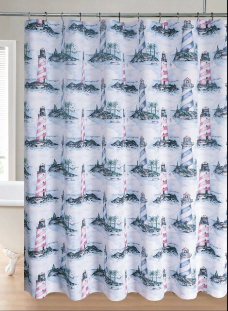 Regal Home Collections Lighthouse Printed Fabric Shower Curtain Blue Multicolor