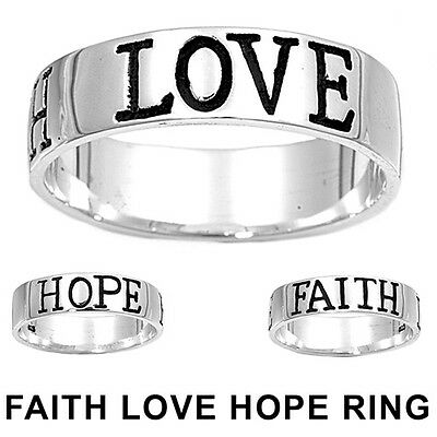 .925 Sterling Silver LOVE HOPE FAITH Inspirational Ring