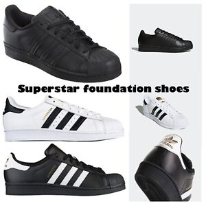 adidas superstar unisex uomini donne bianche black foundation