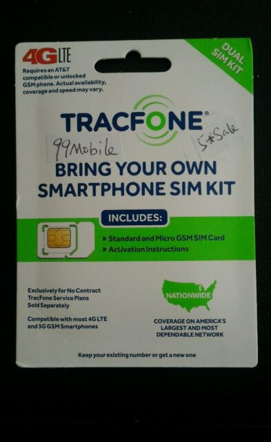 TracFone Bring Your Own Phone BYOP At&t GSM Nano SIM Card Kit