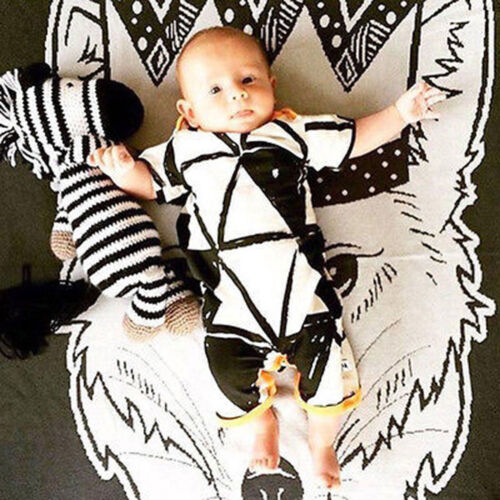 Infant Toddler Baby Girls Boys Short Sleeve Geometry Print Romper Jumpsuit Cloth