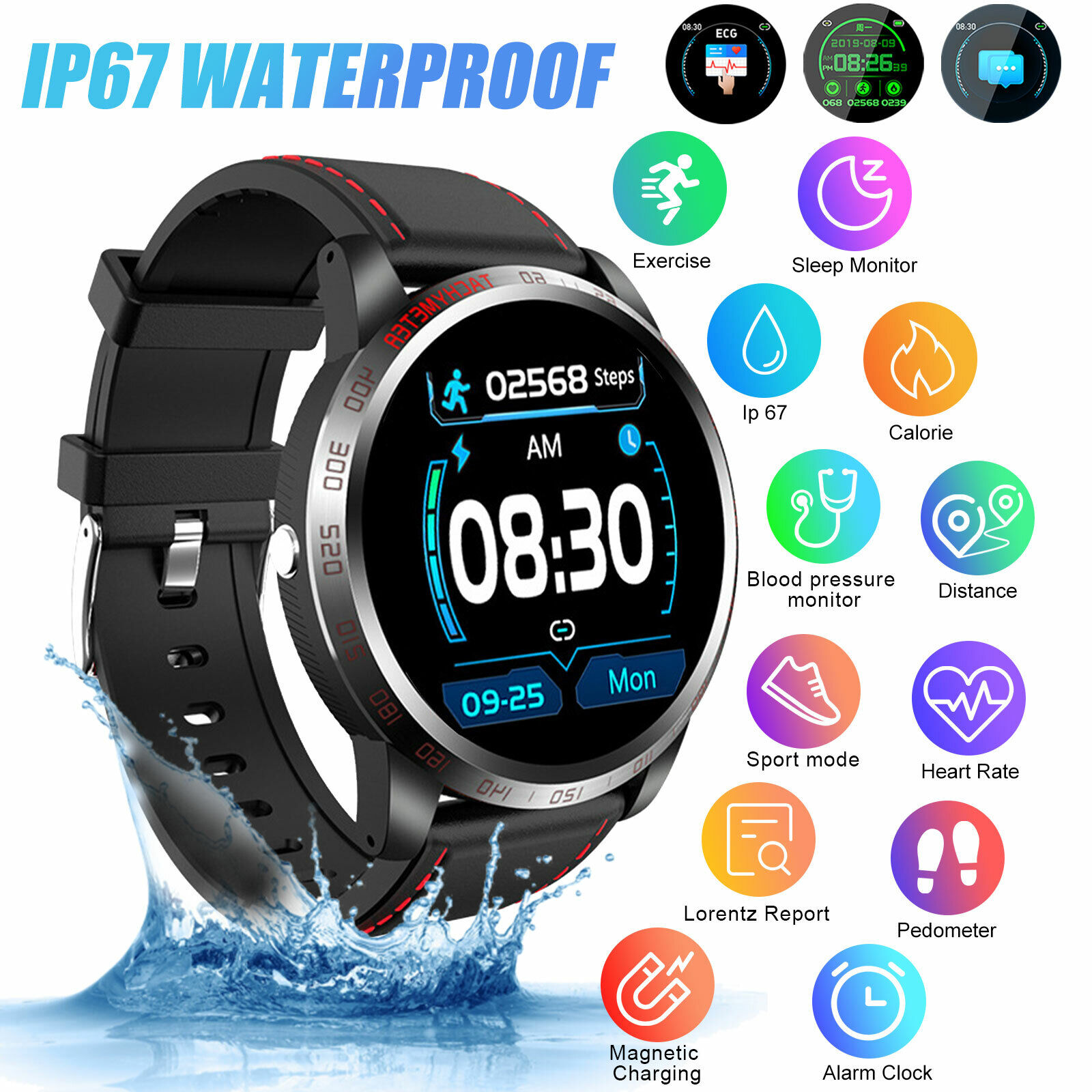 Smart Bluetooth Sports Watch Heart Rate Blood Pressure Monitor Fitness Tracker