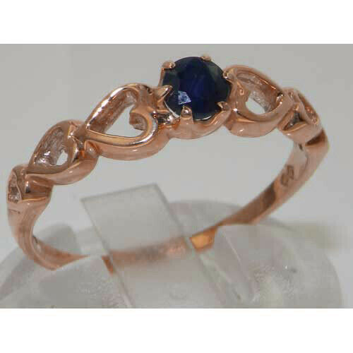 Solid 9ct pink gold Natural Sapphire Womens Solitaire Ring - Sizes J to Z
