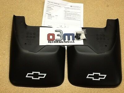 2002-2009 Chevrolet Trailblazer Rear Black Molded MUD FLAPS w/ Bow Tie new OEM