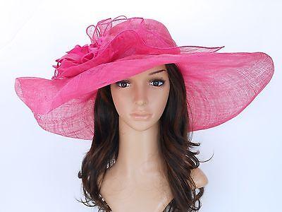 New Church Kentucky Derby Wedding Sinamay Wide Brim Dress Hat S10-2618 Hot Pink