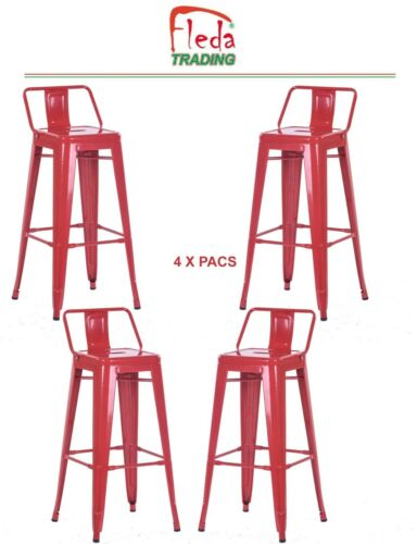 Tabouret de Bar en métal Package DE 4 Pieces avec Dossier et Repose-Pieds