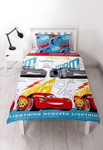 Lit simple Cars Lightning Parure de lit McQueen Storm Blanc Bleu Rouge trophée