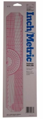 C-THRU BEVELED 8ths /& 10ths ART GRAPH PROTRACTOR RULER ZERO CALIBRATED IN 16ths