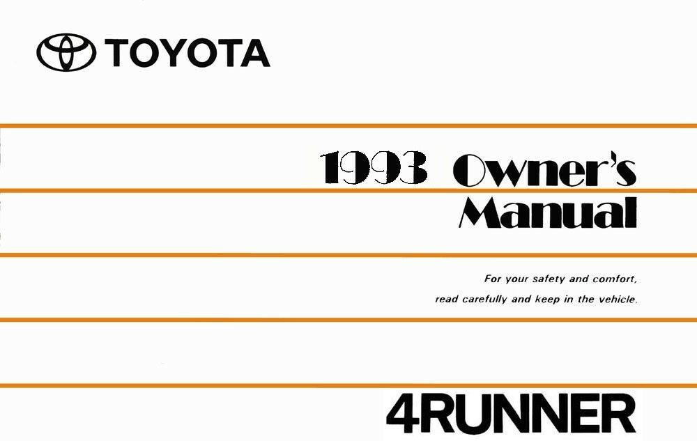 1993toyota 4runner Owners Manual User Guide Reference Operator Book Fuses