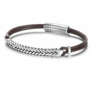 386d1ccfcbc Image is loading Footprint-925-Sterling-Silver -Mens-Leather-Bracelet-Braided-