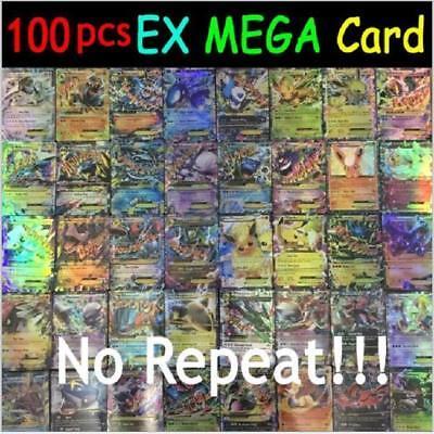 Pokemon 100 PCS Flash Lot Rare High Combat HP Energy 60EX+20GX+20Mega Cards Gift